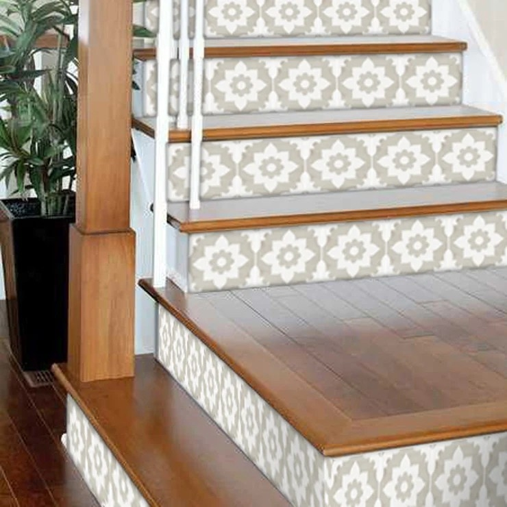 Stair Riser Stickers Stair Riser Tile Decals Campagne Sand 6 | Hardwood Steps And Risers | Gray Painted | Cherry Wood | Hardwood Floor | Timber | White