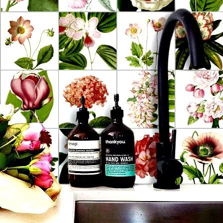 botanic floral illustrations vinyl tile sticker