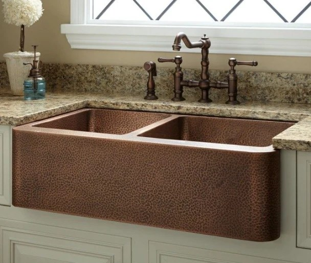 hammered copper double butler sink
