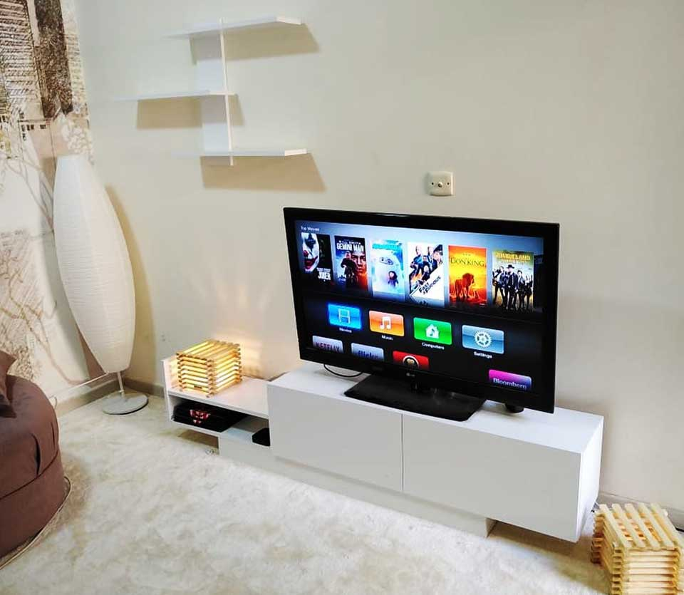 meuble tv elit noyer et blanc guzelhome