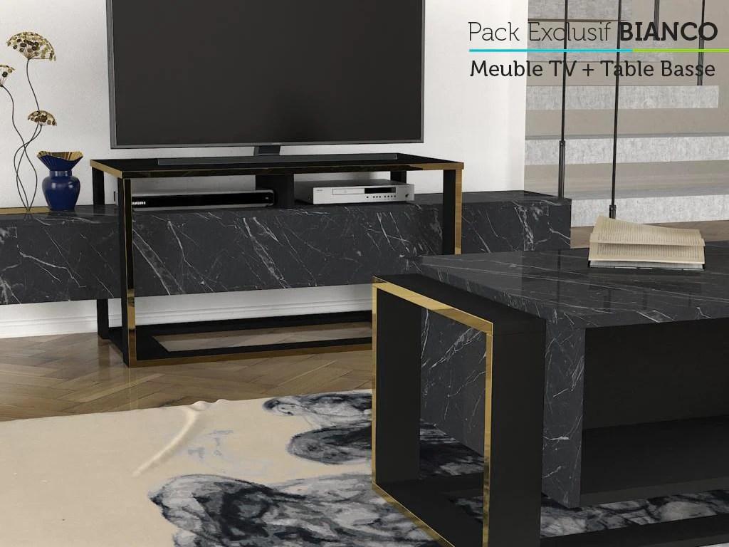 bianco mega pack meuble tv table basse et console buffet
