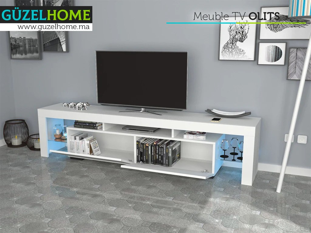 olits 200cm meuble tv avec eclairage led blanc