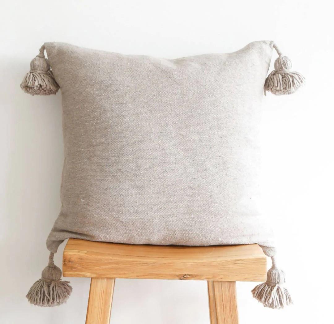 off white pom pom pillow cover mytindy