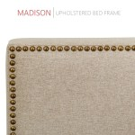Madison Upholstered Platform Bed 50 Tall Headboard Beige Fabric Blissfulnights Com
