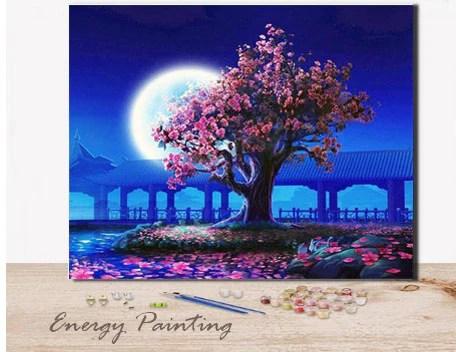 ref016 peinture par numeros kit diy cerisier japonais