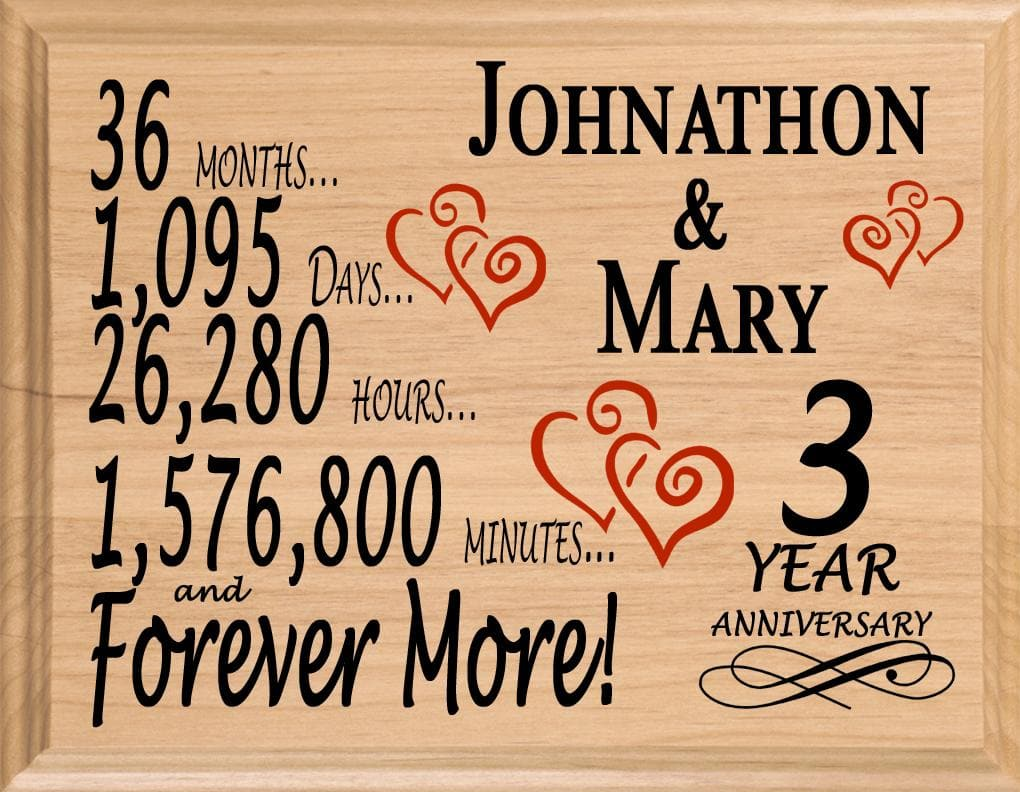 3 Year Anniversary Gift Sign Personalized 3rd Wedding