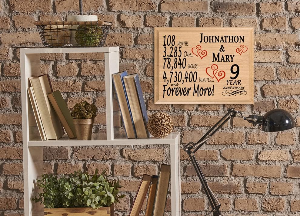 9th Wedding Anniversary Gift Sign Personalized 9 Years For
