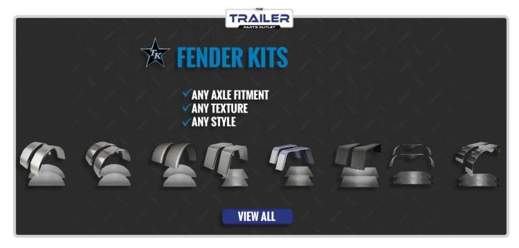Set of 2 Single Axle 9×32 Steel Tread Plate Double Broke Trailer Fenders and Backs – Fender Kit