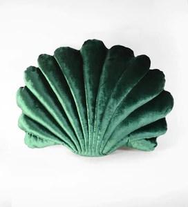 shell pillow in emerald velvet large