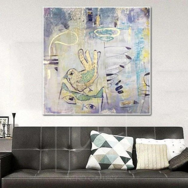 Extra Large Abstract Painting Gray Canvas Art Bird Wall Art Bird Paint Trend Gallery Art Original Abstract Paintings