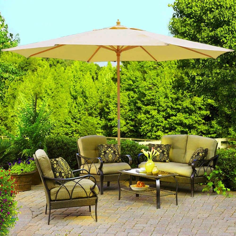 13ft xl outdoor patio umbrella w german beech wood pole beige jorandinc com