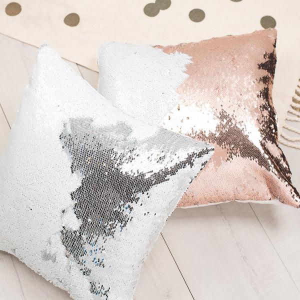 mermaid pillow reversible sequin pillow that changes color champagne gold flip sequin pillow