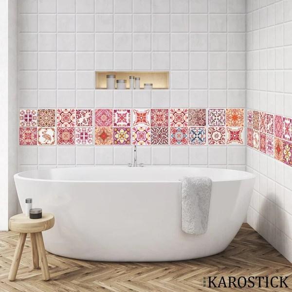 Stickers Carrelages Carreaux Ciment Camaieu De Rouge Stickers Beestick
