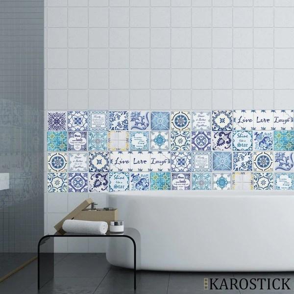 stickers carrelages carreaux ciment mosaique bleu ceruleen
