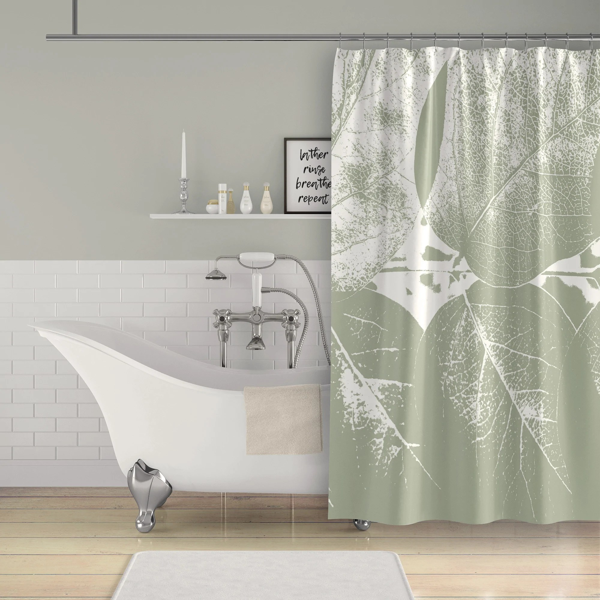 sage green leaves large format photographic print monochromatic shower curtain