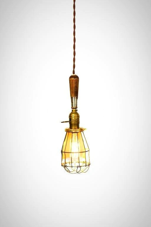 vintage farmhouse wire wood handle caged trouble light pendant brown