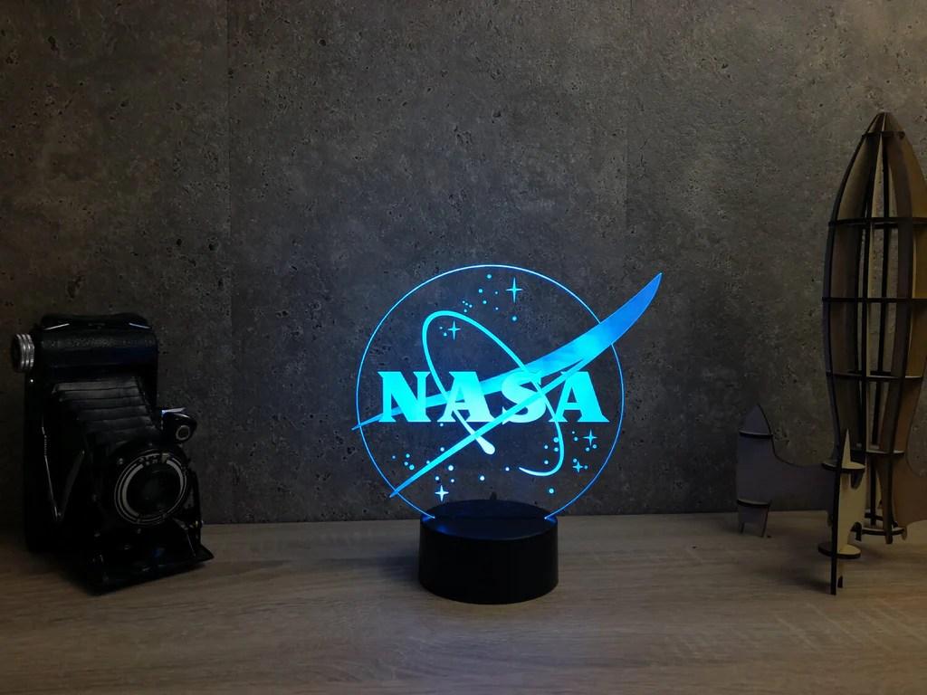 Lampe Illusion Led logo NASA, en verre acrylique gravée au ...