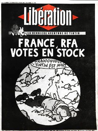 Numéro spécial de Libération à l'annonce de la mort d'Hergé le 5 mars 1983