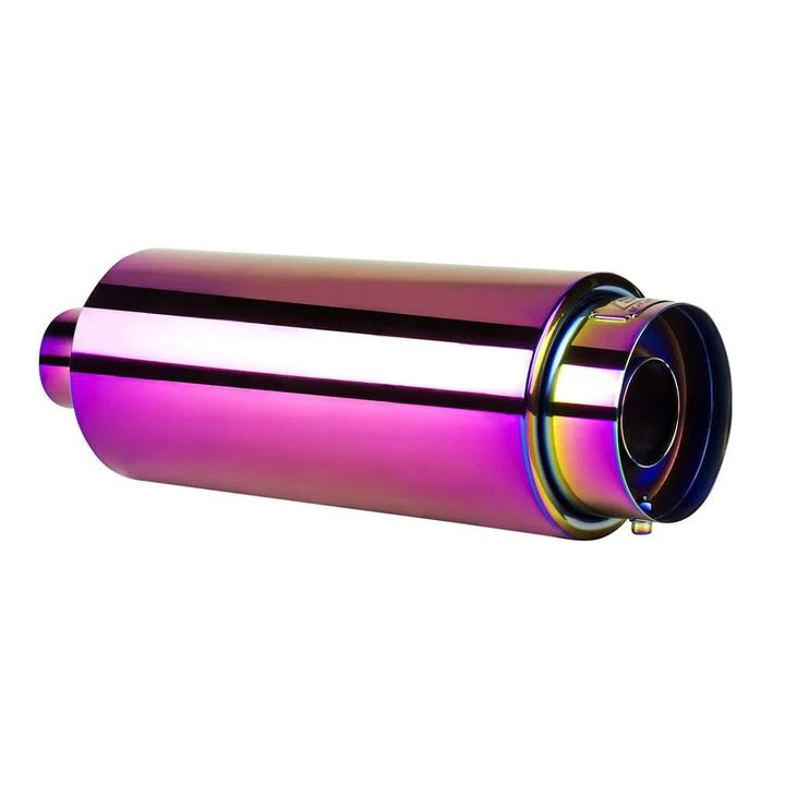dc sports 2 25 anodized chameleon stainless steel exhaust tip w silencer ex 5022