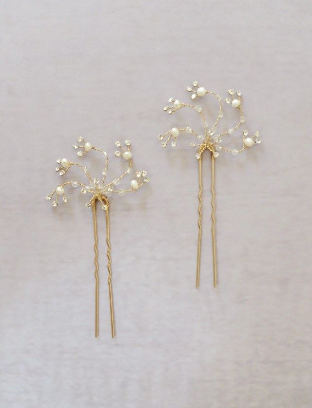 bridal hair bobby pins, crystal and pearl swirls | twigs
