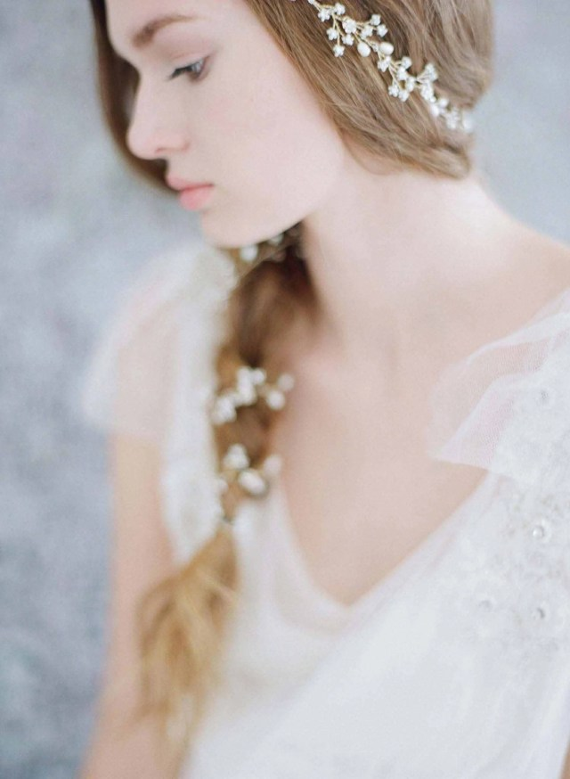 bridal hair vine - extra long petite blossom hair vine