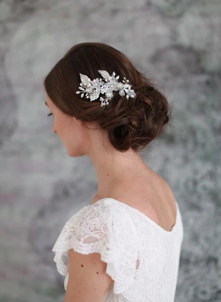 Wedding Hair Comb Frosted Floral Jewels Comb Style