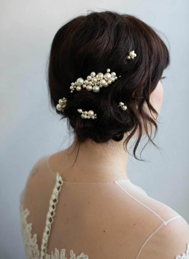 pearl bridal comb and pin set - pearl bubbles hair comb and