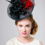 Valegro Black Mesh Derby Saucer Hat With Feather Flowers Genevieve Rose Atelier