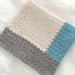 Modern Crochet Baby Blanket For Boys Ocean Blue Grey And Cream Ba