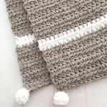 Handmade Baby Gift Grey And White Chunky Modern Crochet Baby Blanket With Pom Poms Gender Neutral Design By Aw 60 00 Usd