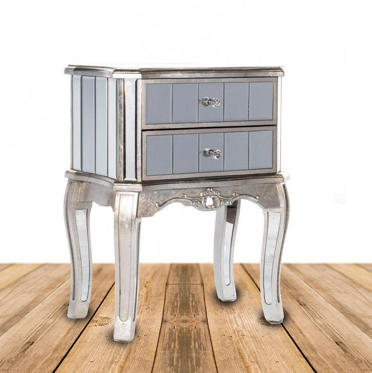 bella mirrored 2 drawer bedside table in antique silver
