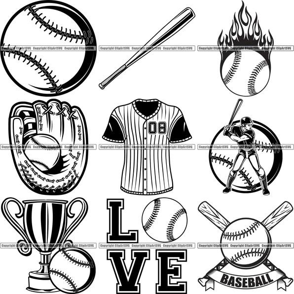 Download 9 Baseball Top Selling Designs Sports Game Ball Bat Glove ...