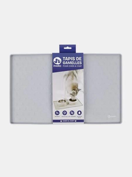 tapis de gamelle pour chien et chat gris