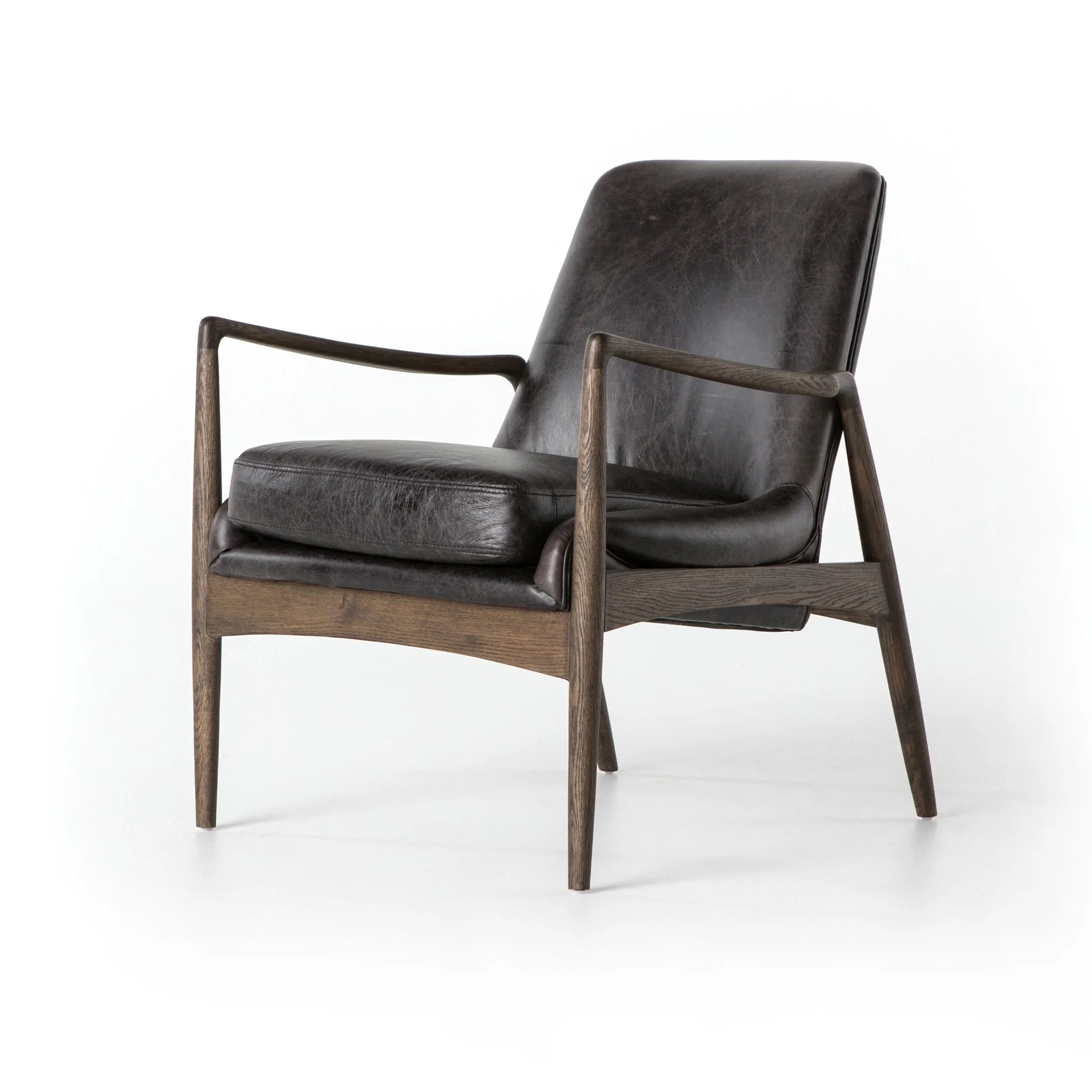 Mid Century Modern Black Top Grain Leather Accent Chair Furniture On Main
