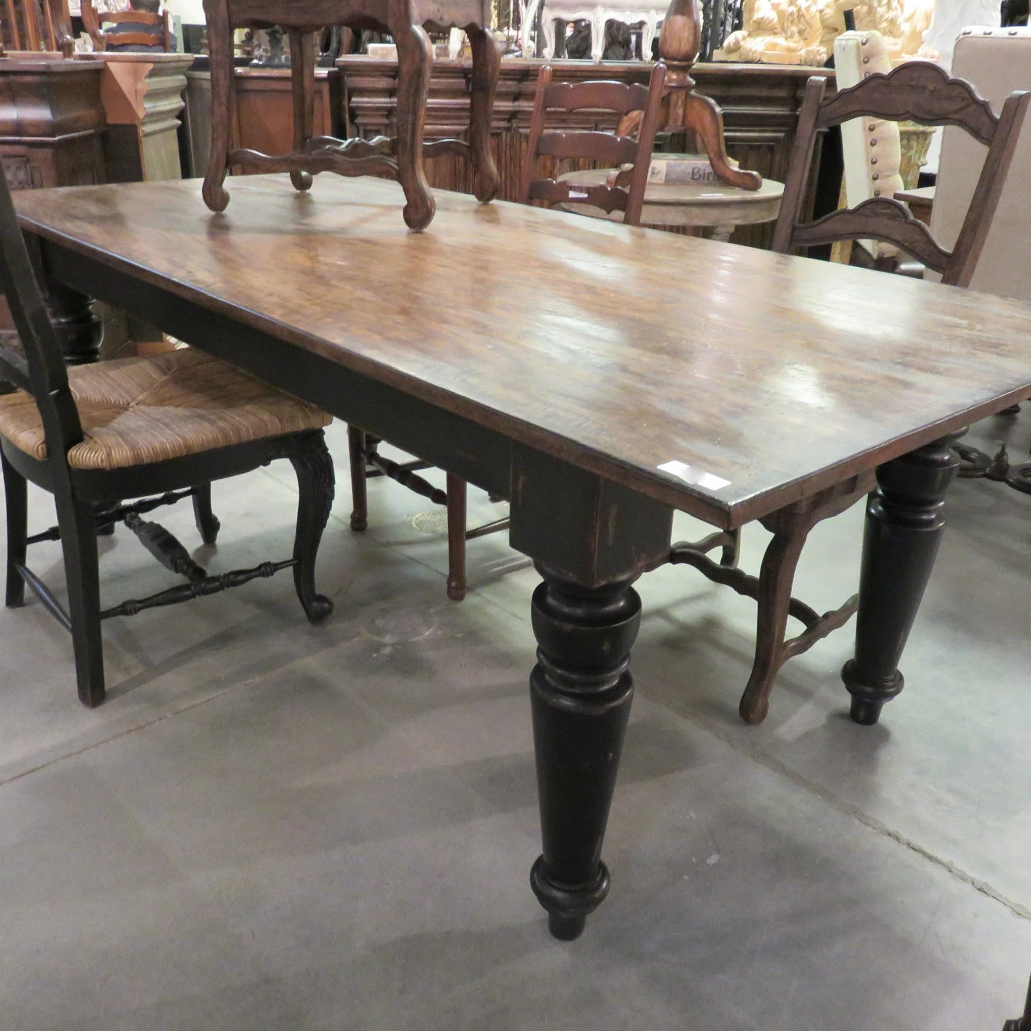 Rustic Farmhouse Dining Table 84 Black Distressed Reclaimed Wood Top Furniture On Main