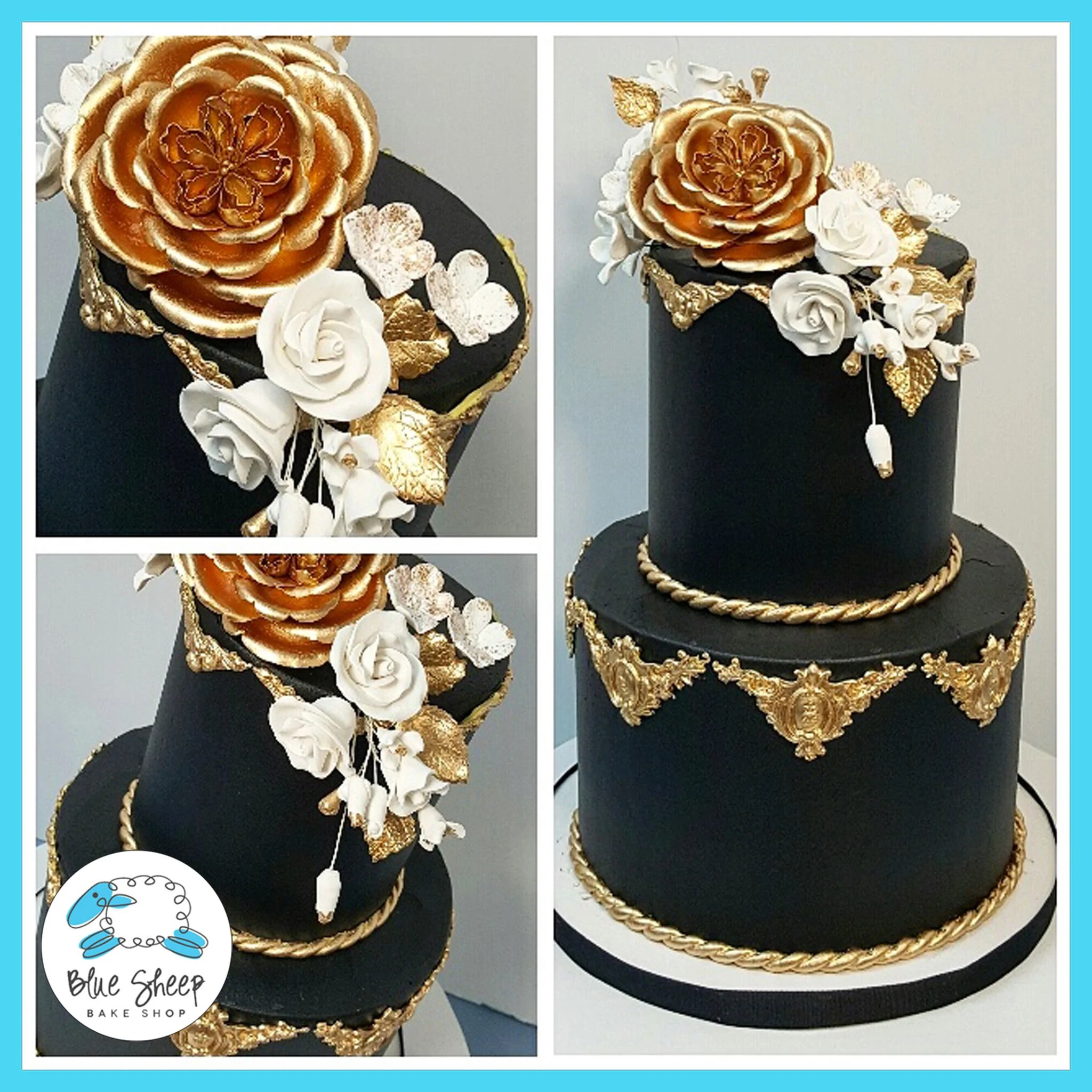 Black and Gold Buttercream Wedding Cake NJ   Blue Sheep Bake Shop best black and gold wedding cakes nj