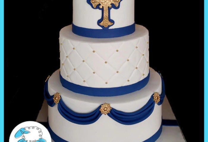 Navy And Gold First Communion Cake Blue Sheep Bake Shop