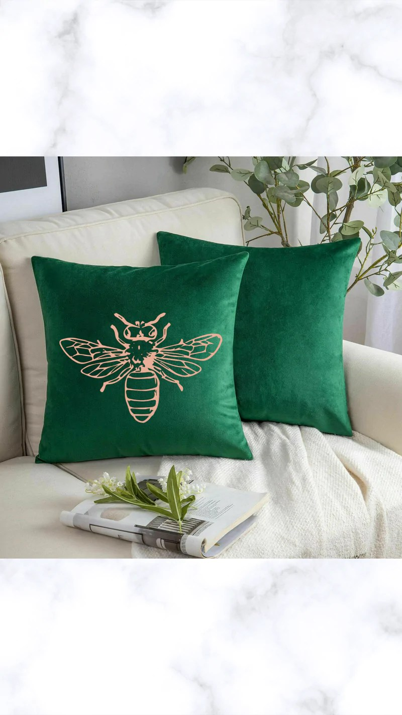 rose gold bee crushed velvet cushion cover emerald green