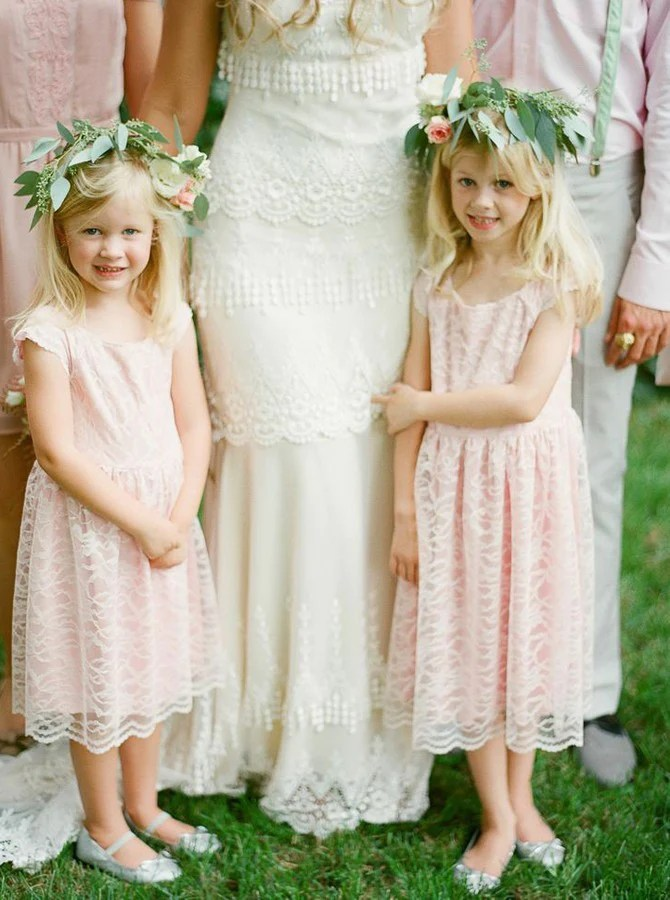 c1a41c11607 Light Pink Round Neck Cap Sleeve Lace Flower Girl Dresses Niceoo