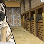 An Attentive Shar Pei Dog And Horse Stables Background Clipart Cartoons By Vectortoons