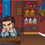 An Ecstatic Man Making Money Online And A Janitors Closet Background Clipart Cartoons By Vectortoons
