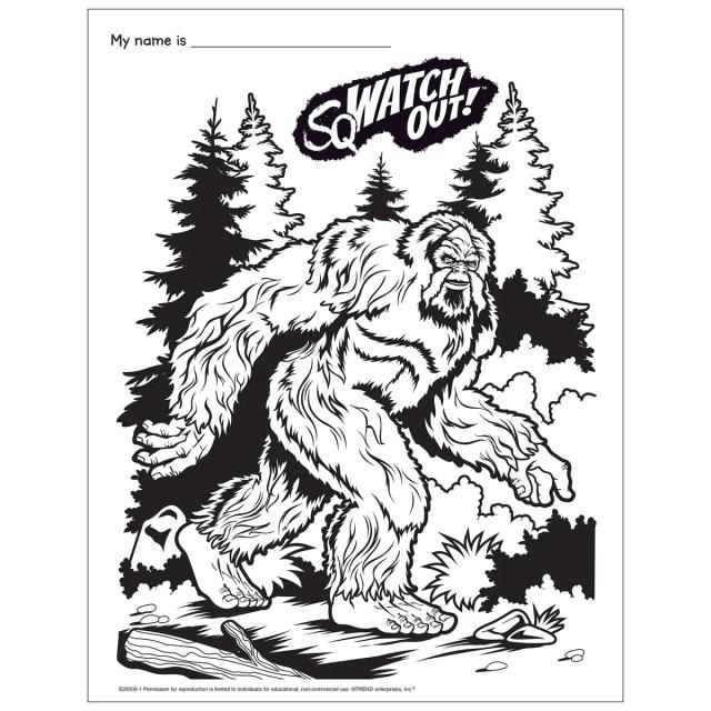 Free Printable Bigfoot Coloring Page E30-30 — TREND enterprises