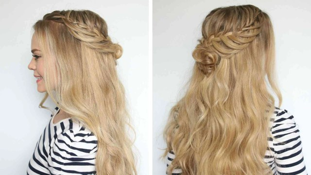 romantic hairstyle: half-up flower bun for prom – luxy hair