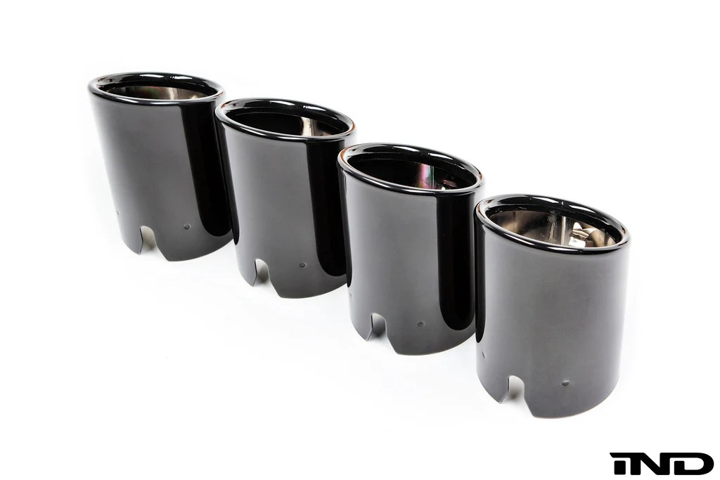 bmw f8x m3 m4 competition package exhaust tip set black chrome