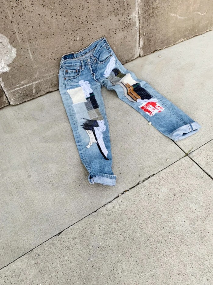 Fanfare Label High Waisted Recycled Fully Patchwork Jeans, Blue Denim