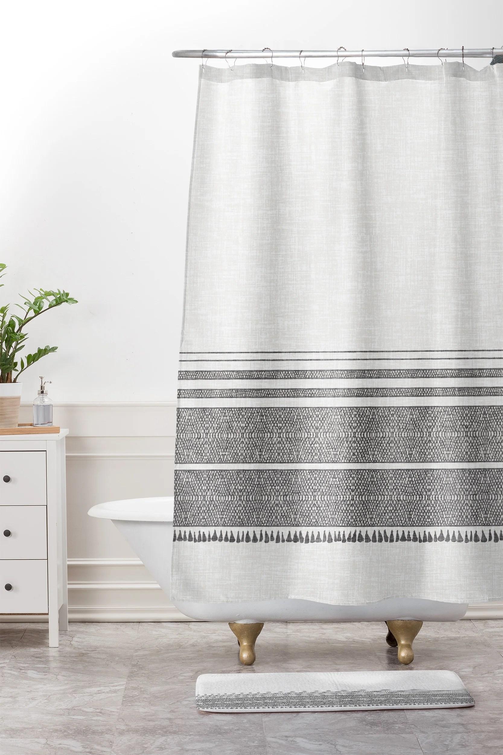 french linen charcoal tassel shower