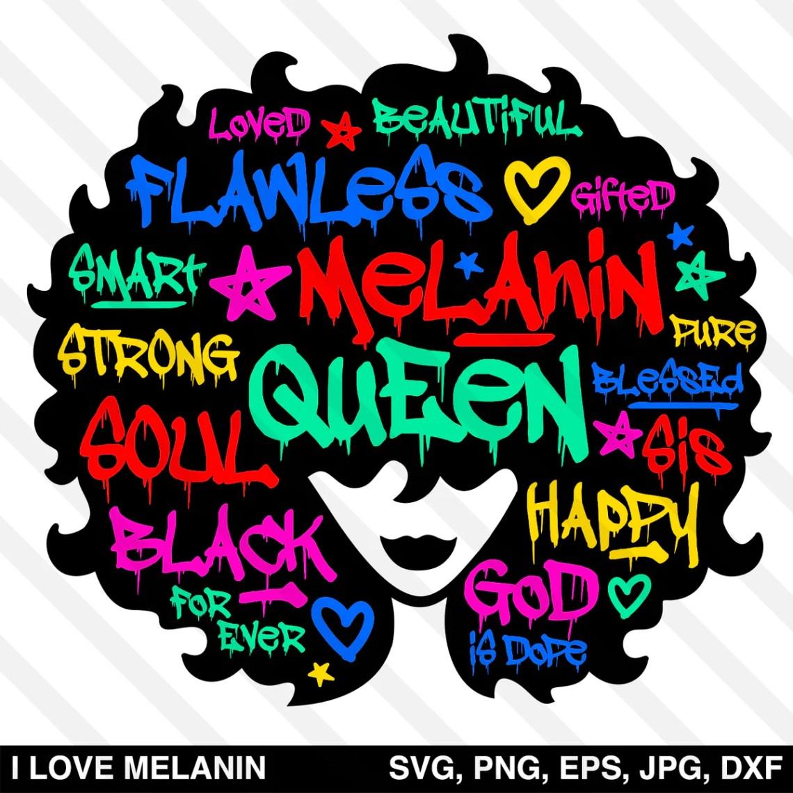 Download Graffiti Black Queen Afro Woman SVG - I Love Melanin