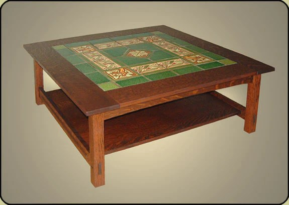 large mission tile top coffee table