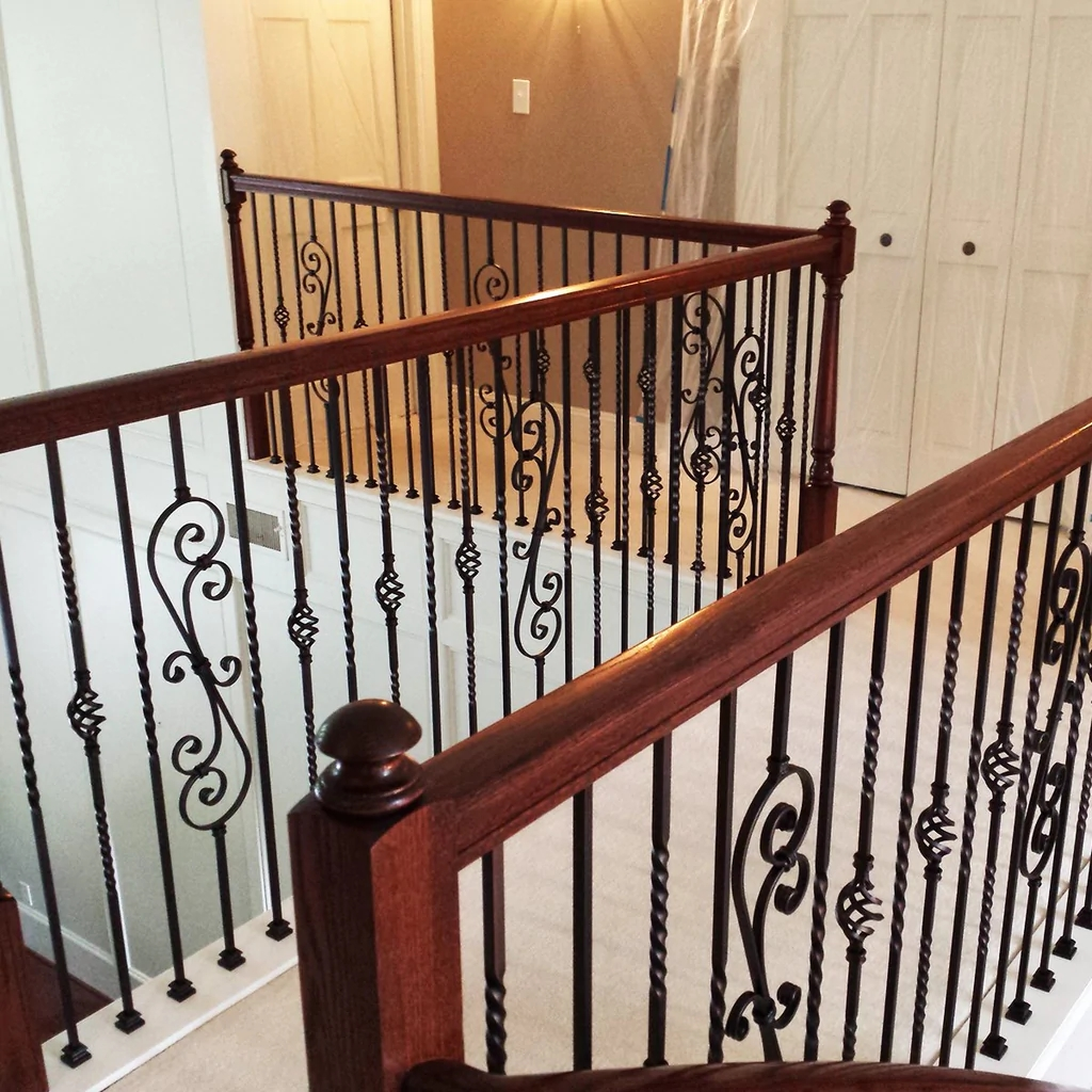 Single Basket Wrought Iron Baluster Affordable Stair Parts   Rod Iron Spindles For Staircase   Interior   Cast Iron   Square   Custom   Metal