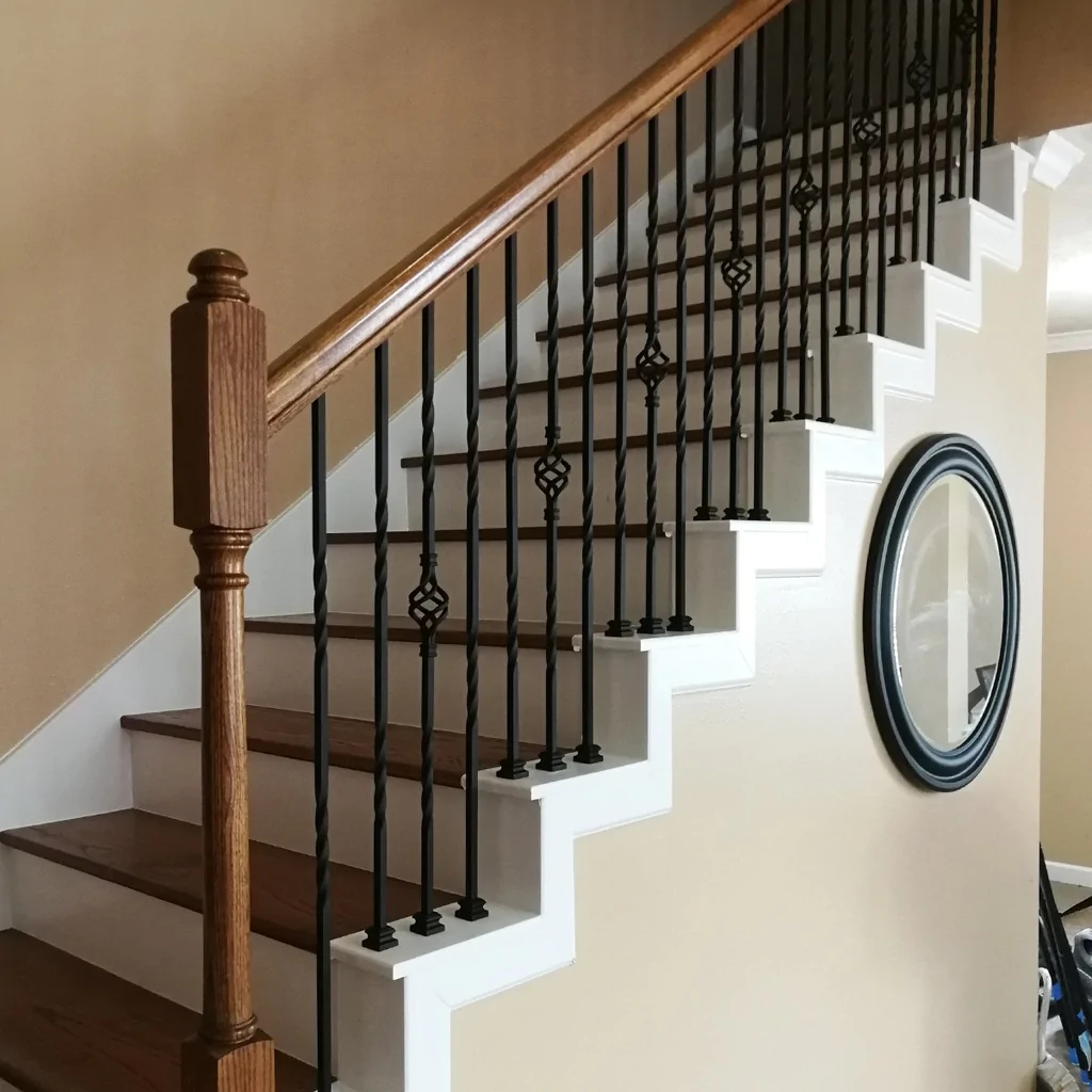 Single Basket Wrought Iron Baluster Affordable Stair Parts   Iron Balusters For Sale   Double Basket   Rustic   Square   Indoor   Cast Iron